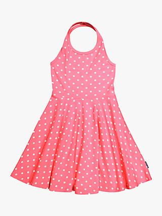 Polarn O. Pyret Children's GOTS Organic Cotton Polka Dot Halterneck Dress, Hot Pink