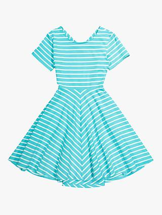 Polarn O. Pyret Children's Striped Flared Dress, Blue