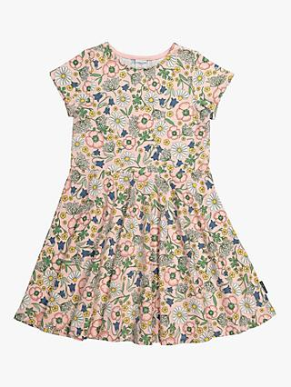 Polarn O. Pyret Girls' Organic Cotton Floral Dress, Pink