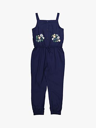Polarn O. Pyret Girls' Floral Cuff Jumpsuit, Blue