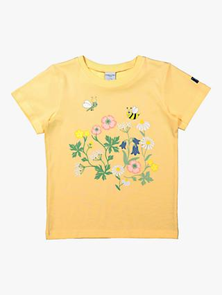 Polarn O. Pyret Children's GOTS Organic Cotton Floral Graphic T-Shirt, Yellow