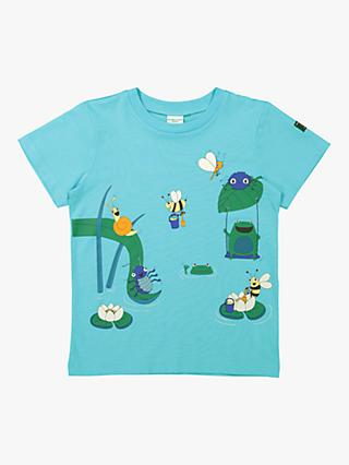 Polarn O. Pyret Children's GOTS Organic Cotton Pond Life Graphic T-Shirt, Blue