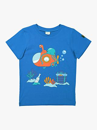 Polarn O. Pyret Children's GOTS Organic Cotton Underwater Scene T-Shirt, Blue
