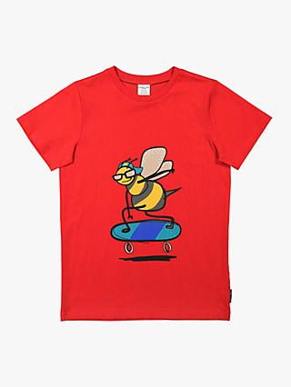Polarn O Pyret Children's GOTS Organic Cotton Bee T-Shirt, Red