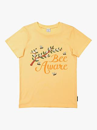 Polarn O Pyret Children's GOTS Organic Cotton Bee T-Shirt, Yellow