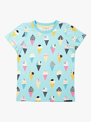 Polarn O. Pyret Children's GOTS Organic Cotton Ice Cream Print T-Shirt, Blue