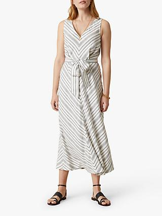 Jigsaw Chevron Linen Blend Dress, Ivory