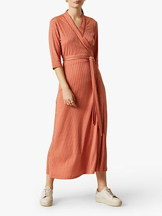 Jigsaw Petal Geo Print Maxi Wrap Dress, Coral