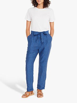 White Stuff Effie Striped Linen Trousers, Dark Navy