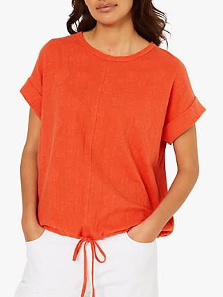 White Stuff Tie Front Jersey Top, Coral Pink Plain
