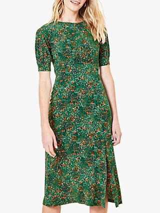 Oasis Confetti Print Midi Dress, Green/Multi