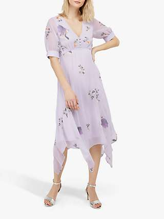 Monsoon Bellrose Floral Embroidered Dress, Grey