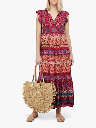 Monsoon Tamalia Abstract Print Maxi Dress, Pink/Multi