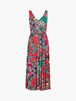 Monsoon Carolyn Scarf Print Midi Dress, Pink/Multi