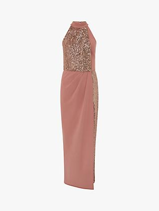 Monsoon Kaitlyn Sequined Colour Block Maxi Dress, Blush