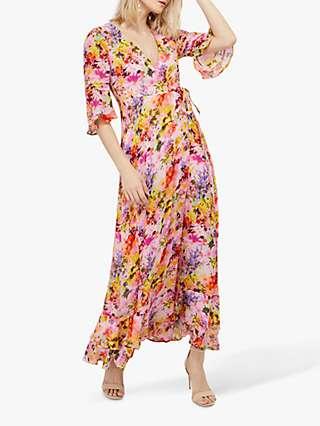 Monsoon Krishana Helen Dealtry Floral Print Wrap Dress, Blush/Multi