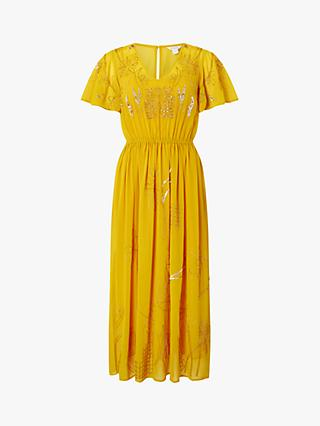 Monsoon Dana Floral Embellished Midi Dress, Yellow