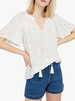Monsoon Alder Star Embroidered Blouse, Ivory