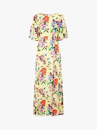 Monsoon Brynn Helen Dealtry Floral Print Dress, Yellow