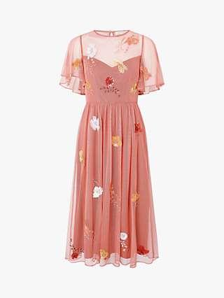 Monsoon Elissia Embellished Midi Dress, Coral