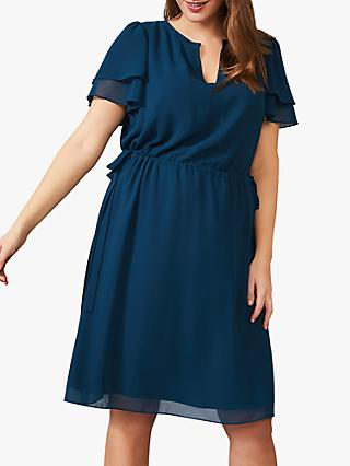 Studio 8 Wynn Tie Side Frill Sleeve Dress, Petrol
