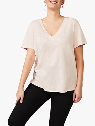 Studio 8 Elsbeth V-Neck Slub Top, Pale Pink
