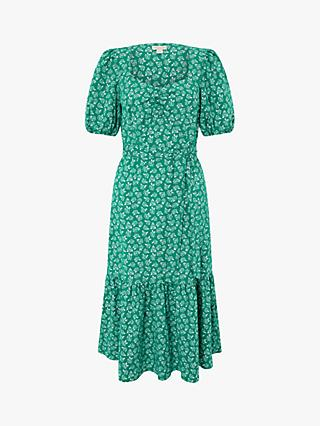 Monsoon Roxie Rose Print Dress, Green