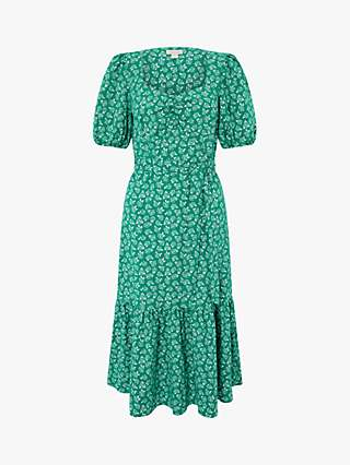 Monsoon Roxie Rose Print Dress, Green
