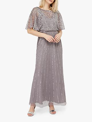 Monsoon Tatiana Embellished Maxi Dress, Grey