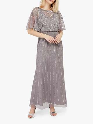 Monsoon Tatiana Embellished Maxi Dress, Grey