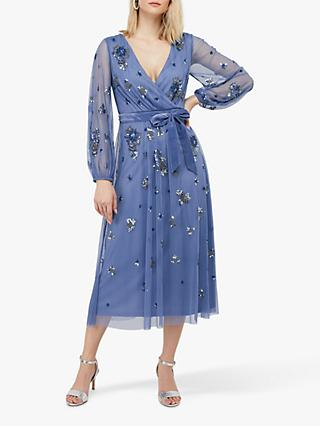 Monsoon Rosanna Floral Embroidered Midi Dress, Blue