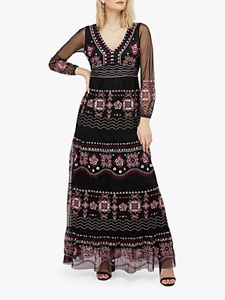 Monsoon Heather Floral Embroidered Maxi Dress, Black
