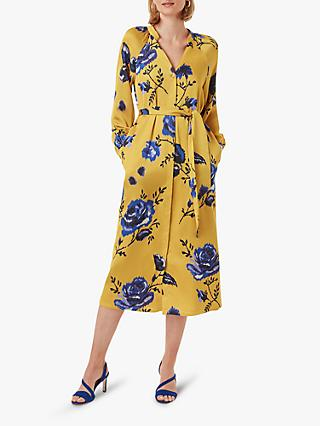Hobbs Rosalind Floral Print Tie Belt Shirt Dress, Yellow/Blue