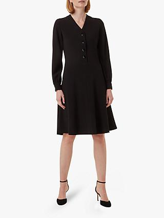 Hobbs Lillian V-Neck Long Sleeved Dress, Black