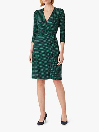Hobbs Delilah Print Wrap Dress, Navy/Green