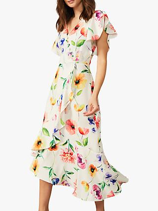 Phase Eight Anthea Floral Print Frill Dress, Almond/Multi