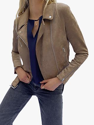 French Connection Suedette Biker Jacket, Mocha Mousse