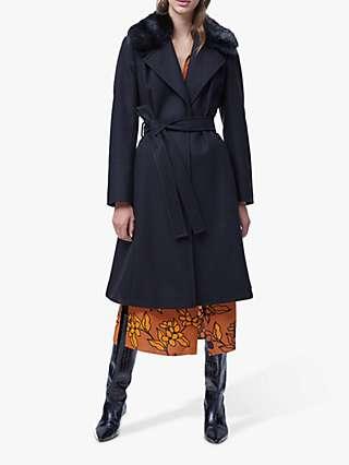 French Connection Amalia Wool Blend Faux Fur Detachable Collar Coat, Black
