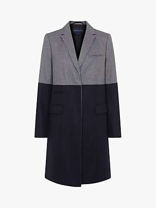 French Connection Erita Colour Block Longline Wool Blend Coat, Grey Melange/Dark Utility Blue