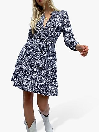 French Connection Vasha Print Shirt Dress, Indigo