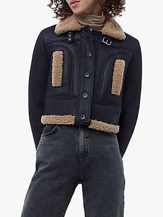 French Connection Belen Faux Fur Biker Jacket, Black/Brown