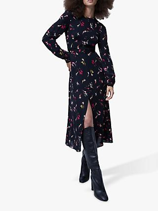 French Connection Chiara Bouquet Midi Dress, Black/Multi