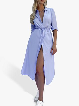 French Connection Rhodes Organic Poplin Drawstring Waist Dress, Blue Tint