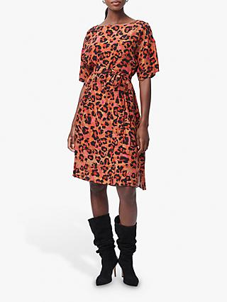 French Connection Bernadia Crepe Belted Leopard Print Mini Dress, Desert Rose/Multi