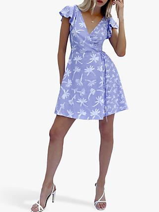 French Connection Arabella Floral Print Wrap Mini Dress, Cornflower