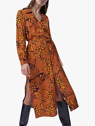 French Connection Cefara Drape Printed Shirt Dress, Toffee