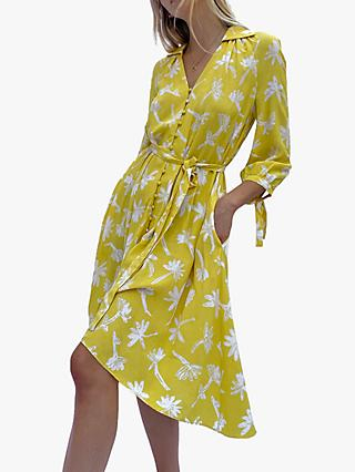 French Connection Abita Floral Print Shirt Dress, Pop Yellow