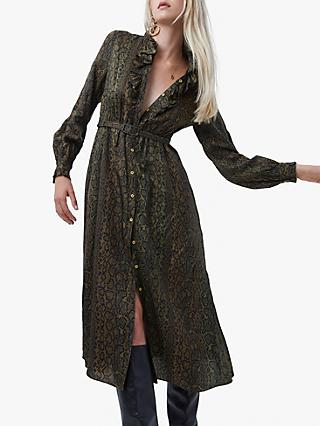 French Connection Erina Snake Ruffle Neck Shirt Dress, Hawthorn Green/Multi