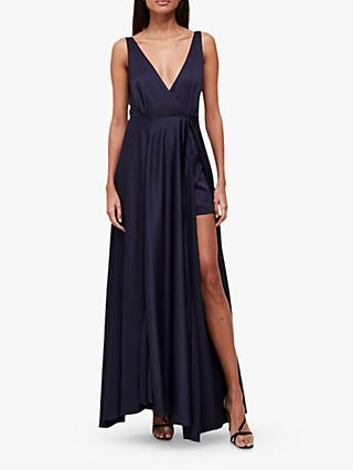 French Connection Graci Drape Maxi Dress, Utility Blue
