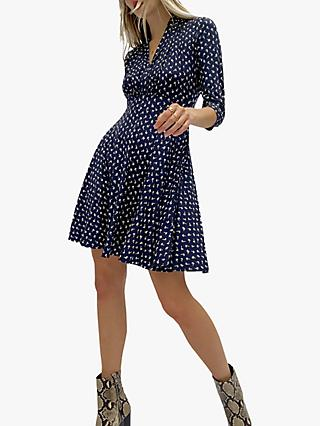 French Connection Litzy-Momo Ditsy Blossom Jersey Dress, Indigo/Winter White